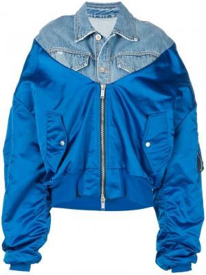 Куртка-бомбер оверсайз Unravel Project. Цвет: синий