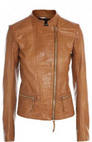 Куртка кожаная Roberto Cavalli. Цвет: коричневый