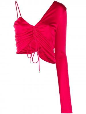 Укороченный топ асимметричного кроя с драпировкой The Attico. Цвет: розовый