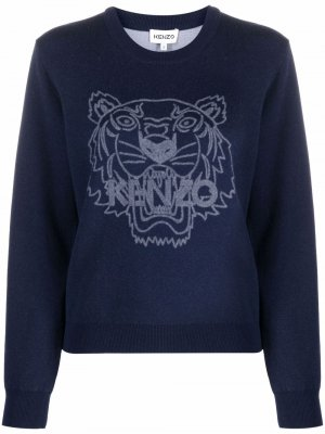 Crew neck tigerknitted sweatshirt Kenzo. Цвет: синий