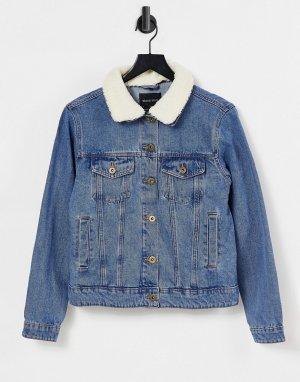Джинсовая куртка с воротником из искусственного меха Larson-Голубой Brave Soul
