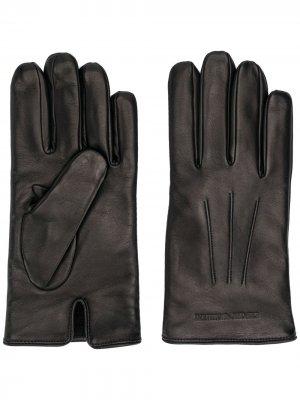 Перчатки с гравировкой логотипа Emporio Armani. Цвет: черный