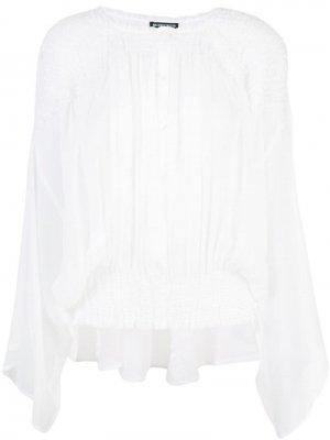Рубашка без воротника со складками Ann Demeulemeester. Цвет: белый