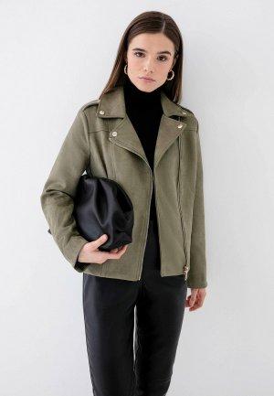 Куртка кожаная Zarina Exclusive online. Цвет: хаки