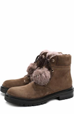 Замшевые ботинки Elba с помпонами Jimmy Choo. Цвет: коричневый