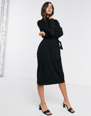 Черное платье-джемпер с объемными рукавами -Черный Gestuz