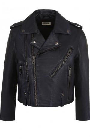 Укороченная кожаная куртка с косой молнией Zadig&Voltaire. Цвет: синий