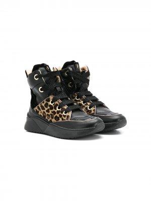 Высокие кроссовки с леопардовой вставкой Cesare Paciotti Kids. Цвет: черный