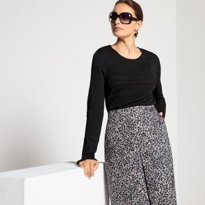 Пуловер оригинальный из тонкого трикотажа ANNE WEYBURN. Цвет: черный,экрю