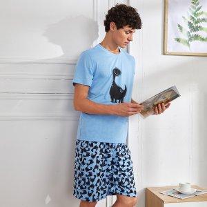Мужской с принтом динозавра Футболка & Шорты Домашний комплект SHEIN. Цвет: многоцветный