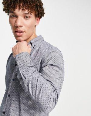 Рубашка с длинными рукавами Mabsoot-Голубой BOSS