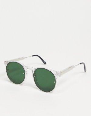 Мужские солнцезащитные очки в круглой прозрачной оправе с зелеными стеклами -Прозрачный Spitfire