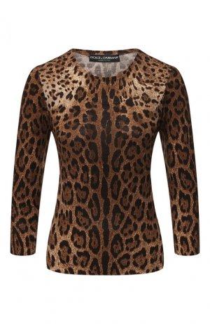 Шерстяной пуловер Dolce & Gabbana. Цвет: леопардовый