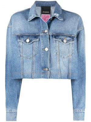 Logo-print cropped denim jacket Pinko. Цвет: синий