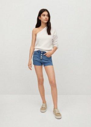 Джинсовые шорты с пуговицами - Rose Mango. Цвет: синий средний