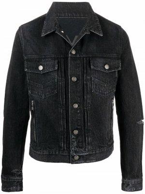 Джинсовая куртка с прорезями Balmain. Цвет: черный