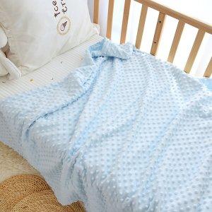 Детское однотонное одеяло SHEIN. Цвет: синий