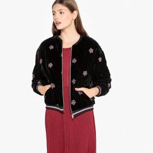 Куртка-бомбер из велюра с цветочной вышивкой, DIEGO SUNCOO. Цвет: черный