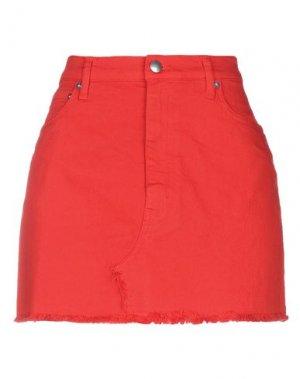Джинсовая юбка DOUUOD. Цвет: красный