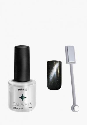 Набор для ухода за ногтями Runail Professional магнит и Гель-лак Cat's eye серебристый блик, цвет: Ночная кошка. Цвет: серый