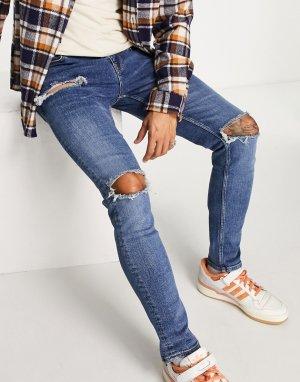 Выбеленные синие рваные джинсы скинни -Голубой ASOS DESIGN