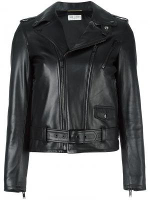 Кожаная байкерская куртка Saint Laurent. Цвет: чёрный