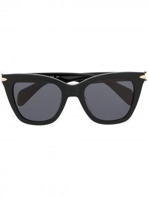 Солнцезащитные очки в квадратной оправе RAG & BONE EYEWEAR. Цвет: черный