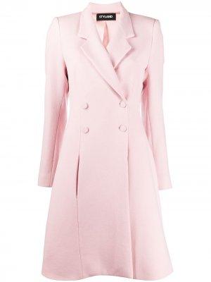 Двубортное пальто средней длины Styland. Цвет: розовый