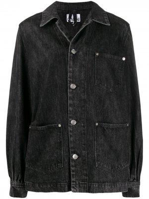 Джинсовая куртка оверсайз с накладными карманами GANNI. Цвет: черный