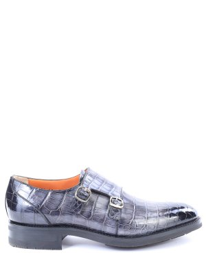 Туфли-монки из кожи крокодила SANTONI