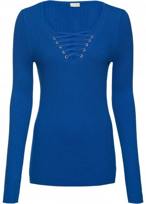 Пуловер в рубчик bonprix. Цвет: синий