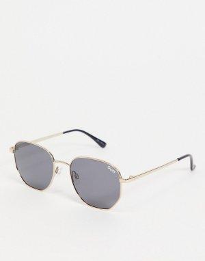 Женские солнцезащитные очки в золотистой шестиугольной оправе Big Time-Золотистый Quay Australia