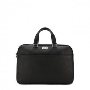 Кожаная сумка для ноутбука с плечевым ремнем Corneliani. Цвет: чёрный