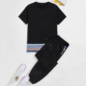 Мужской с геометрическим принтом Футболка & на кулиске Спортивные брюки SHEIN. Цвет: чёрный