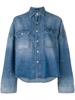 Джинсовая куртка-рубашка в стиле оверсайз R13. Цвет: синий