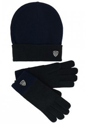 Комплект перчатки шапка EA7. Цвет: синий