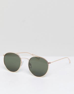 Солнцезащитные очки в круглой оправе Explore-Золотой Weekday