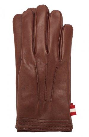 Кожаные перчатки Bally. Цвет: коричневый
