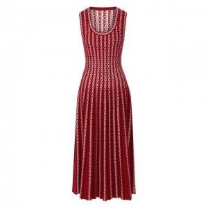 Платье из смеси вискозы и шерсти Alaia. Цвет: красный