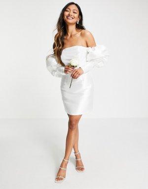 Свадебное платье мини с открытыми плечами и пышными рукавами -Белый ASOS EDITION