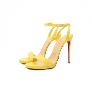 Кожаные босоножки Loubi Queen 120 Christian Louboutin. Цвет: жёлтый