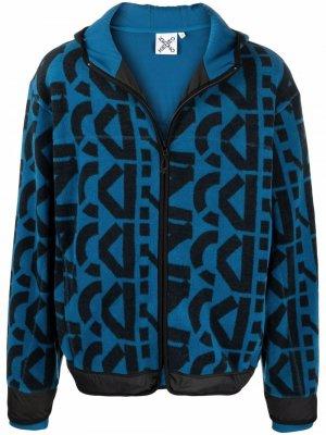 Куртка с капюшоном и абстрактным принтом Kenzo. Цвет: синий