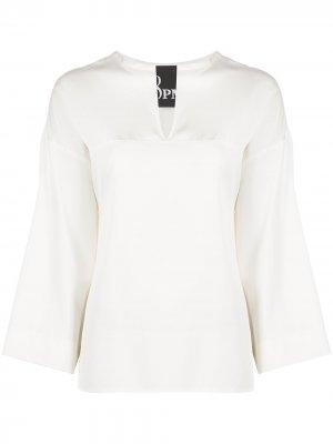 Блузка с V-образным вырезом 8pm. Цвет: белый