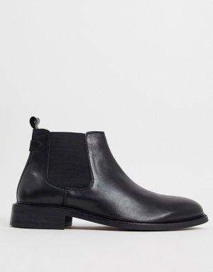 Черные кожаные ботинки для широкой стопы wide fit-Черный Dune