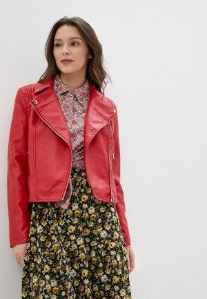 Куртка кожаная Concept Club. Цвет: красный