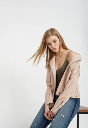 Куртка кожаная Lime. Цвет: розовый