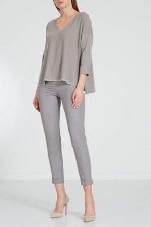 Серый пуловер с серебряным кантом Fabiana Filippi. Цвет: зеленый
