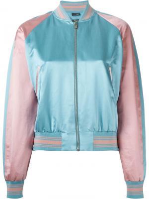Куртка-бомбер с контрастной окантовкой Alexander McQueen. Цвет: синий