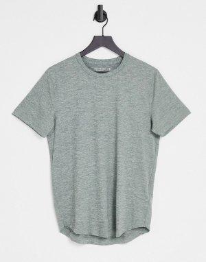 Зеленая меланжевая футболка с асимметричным краем и логотипом -Зеленый цвет Abercrombie & Fitch