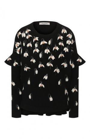 Шерстяной пуловер Valentino. Цвет: черный